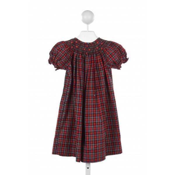 TENNILLE KIDS RED, GREEN, AND BLUE PLAID DRESS *(STAIN ON FRONT)