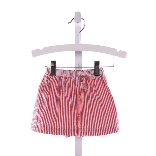 LIME GREEN  RED SEERSUCKER STRIPED  SHORTS