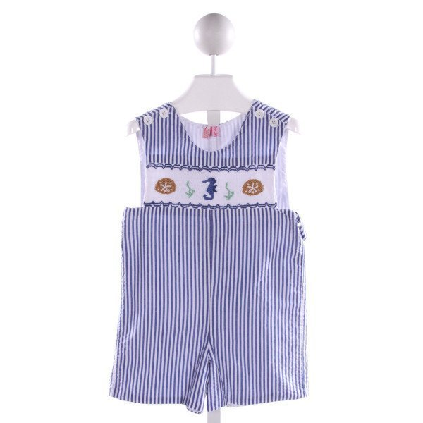 TWO SILLY KIDS  BLUE SEERSUCKER STRIPED SMOCKED JOHN JOHN/ SHORTALL