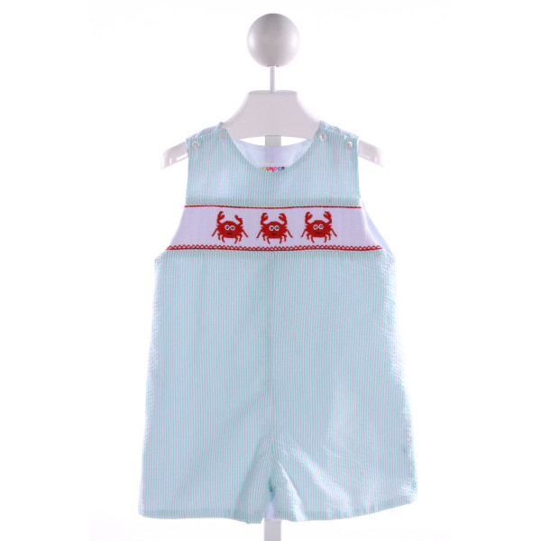 CUKEES  AQUA SEERSUCKER STRIPED SMOCKED JOHN JOHN/ SHORTALL