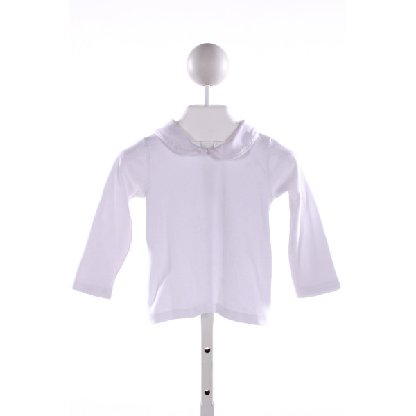 CLASSY COUTURE  WHITE    KNIT LS SHIRT WITH PICOT STITCHING