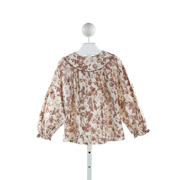 KELLY'S KIDS  IVORY  FLORAL  CLOTH LS SHIRT WITH RUFFLE