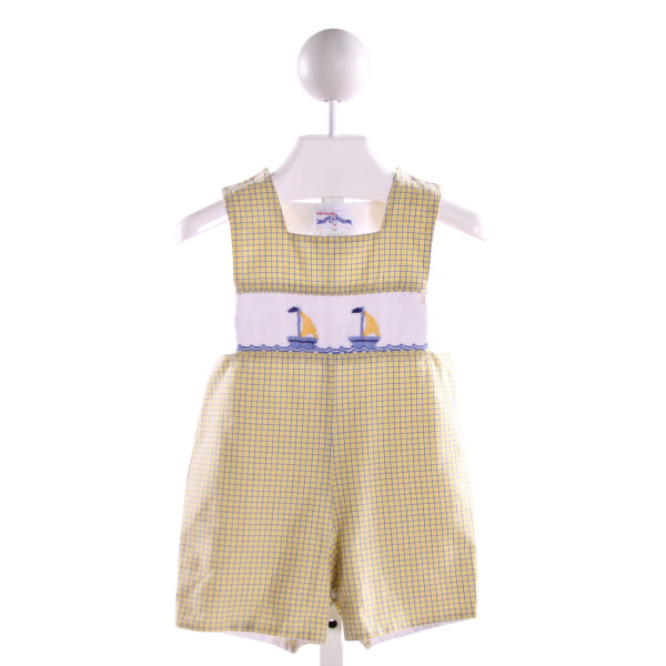 SILLY GOOSE  MULTI-COLOR  WINDOWPANE SMOCKED JOHN JOHN/ SHORTALL