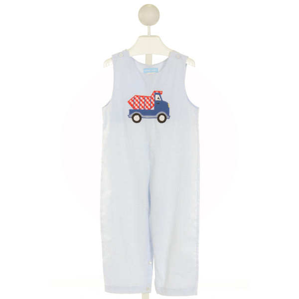 MONDAY'S CHILD  LT BLUE  GINGHAM EMBROIDERED LONGALL/ROMPER