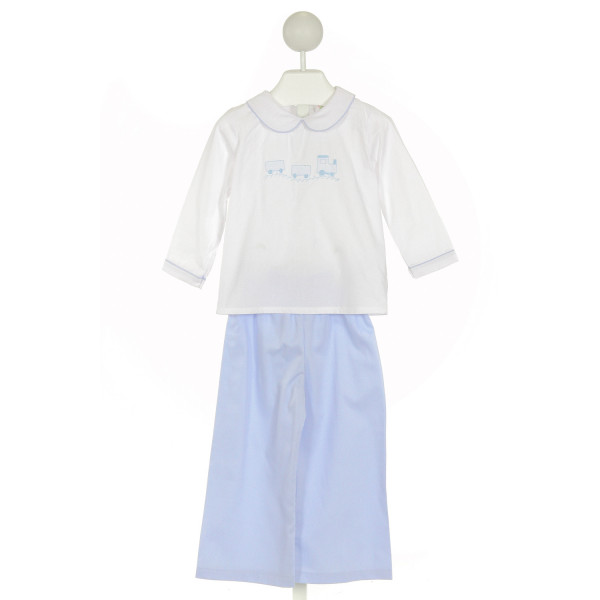 SMOCKED THREADS CECIL & LOU  WHITE   EMBROIDERED 2-PIECE OUTFIT