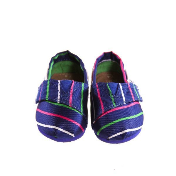 BLUE STRIPED TOMS *SIZE 4, VGU - VERY FAINT TINY STAINS