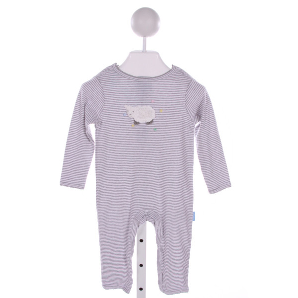 ALBETTA  GRAY  STRIPED EMBROIDERED ROMPER WITH PICOT STITCHING