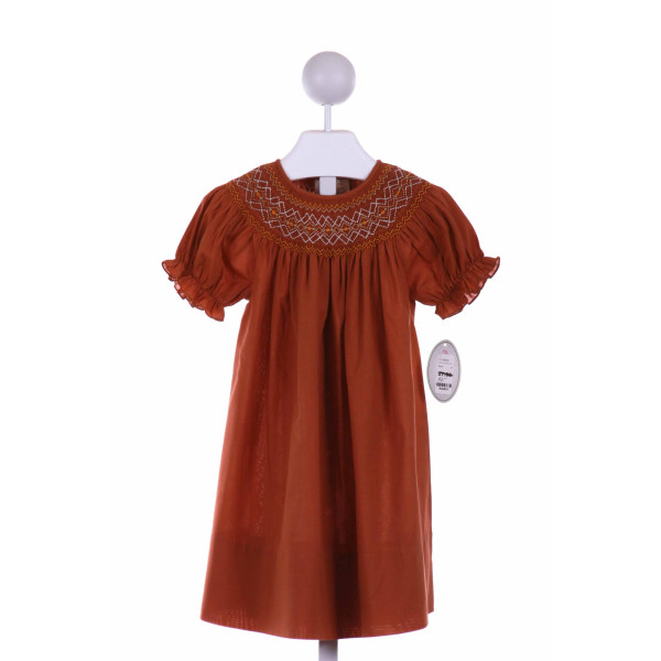 ROSALINA  BROWN   SMOCKED CASUAL DRESS