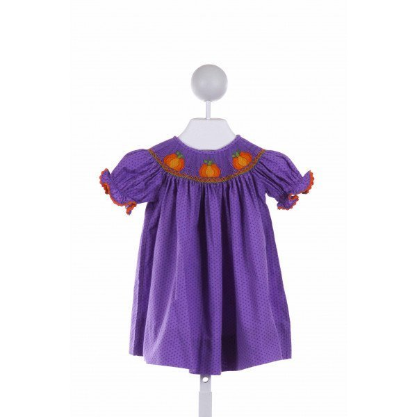 CUKEES  PURPLE  POLKA DOT SMOCKED DRESS