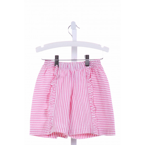 CHEZ AMI  PINK SEERSUCKER STRIPED  SHORTS WITH RUFFLE