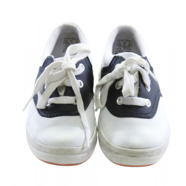 WHITE AND NAVY BLUE KEDS *SIZE 9.5, VGU - VERY MINOR DISCOLORATION