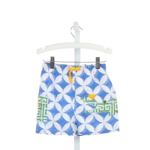 MUD PIE  MULTI-COLOR  PRINT EMBROIDERED SWIM TRUNKS