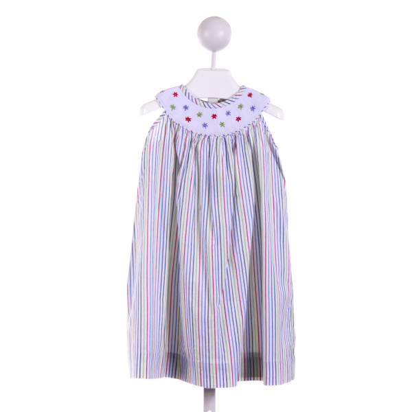 BY GRACE  GREEN SEERSUCKER STRIPED SMOCKED CASUAL DRESS