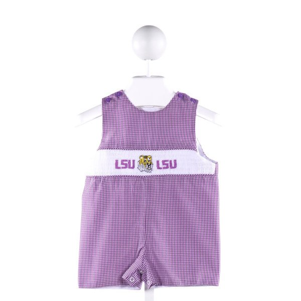 NOLA SMOCKED   PURPLE  GINGHAM SMOCKED JOHN JOHN/ SHORTALL