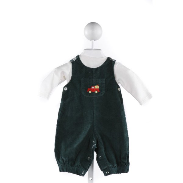 PETIT CONFECTIONS  FOREST GREEN CORDUROY  EMBROIDERED LONGALL/ROMPER