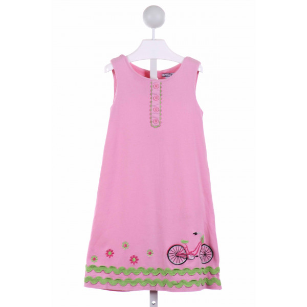 HARTSTRINGS  PINK  FLORAL APPLIQUED DRESS WITH RIC RAC