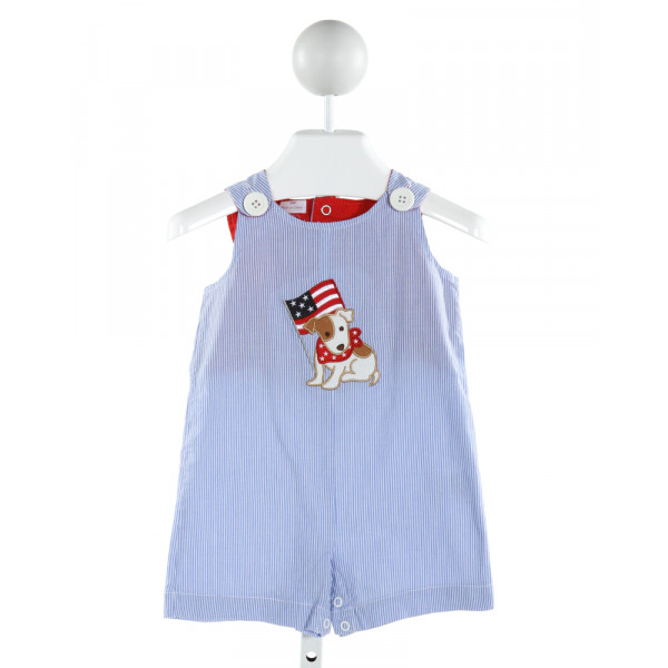 CRE8IONS  BLUE  STRIPED EMBROIDERED JOHN JOHN/ SHORTALL