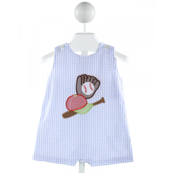 CUKEES  LT BLUE  GINGHAM EMBROIDERED JOHN JOHN/ SHORTALL