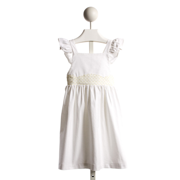 ALICE KATHLEEN HALEY PINAFORE DRESS IN WHITE CORD AND YELLOW DOTTED SWISS