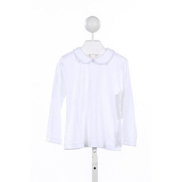 ALICE KATHLEEN WHITE KNIT BLUE BLANKET STITCH TOP