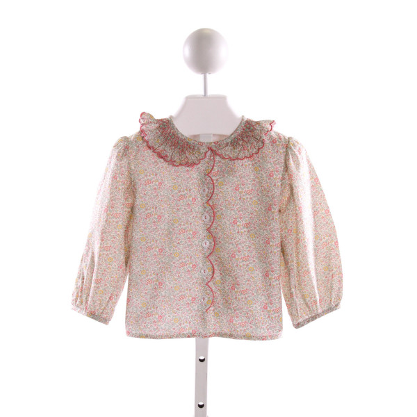 ALICE KATHLEEN  PINK  FLORAL SMOCKED CLOTH LS SHIRT WITH RUFFLE