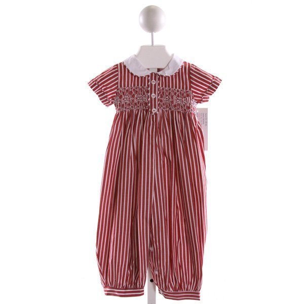 ALICE KATHLEEN  RED  STRIPED SMOCKED LONGALL/ROMPER
