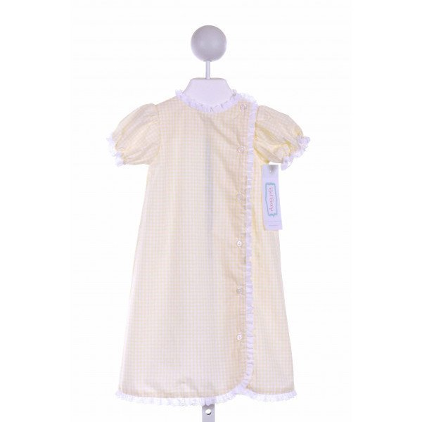 RED BEANS  PALE YELLOW  GINGHAM  CASUAL DRESS WITH LACE TRIM