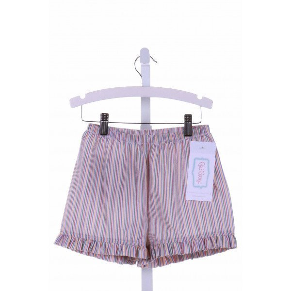 RED BEANS  MULTI-COLOR SEERSUCKER STRIPED  SHORTS WITH RUFFLE