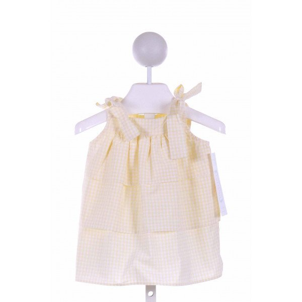 RED BEANS  PALE YELLOW  GINGHAM  CLOTH SS SHIRT