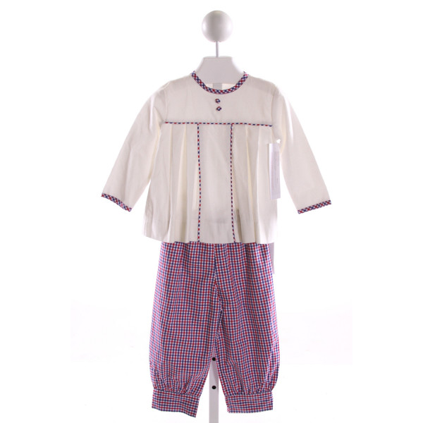 RED BEANS  MULTI-COLOR CORDUROY GINGHAM  2-PIECE OUTFIT