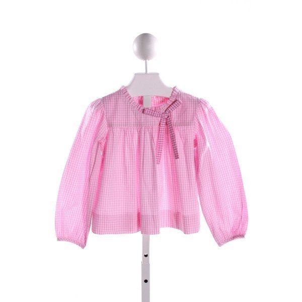 RED BEANS  PINK  GINGHAM  CLOTH LS SHIRT WITH RUFFLE