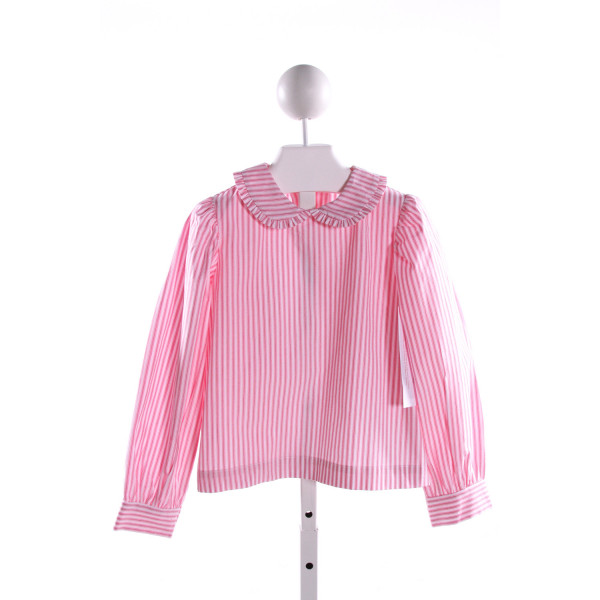 RED BEANS  PINK  STRIPED  CLOTH LS SHIRT WITH RUFFLE