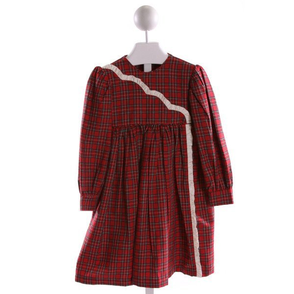 RED BEANS  MULTI-COLOR  PLAID  DRESS WITH RUFFLE