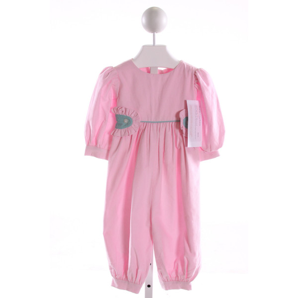RED BEANS  PINK CORDUROY   ROMPER WITH RUFFLE