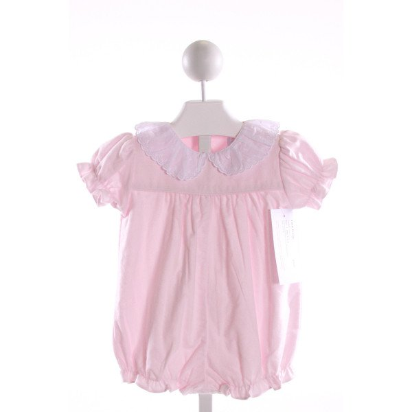 RED BEANS  LT PINK FLANNEL  EMBROIDERED BUBBLE WITH RUFFLE
