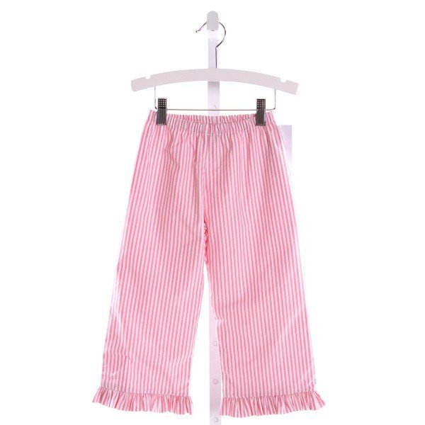 RED BEANS  PINK  STRIPED  PANTS WITH RUFFLE