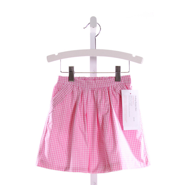 RED BEANS  PINK  GINGHAM  SKIRT