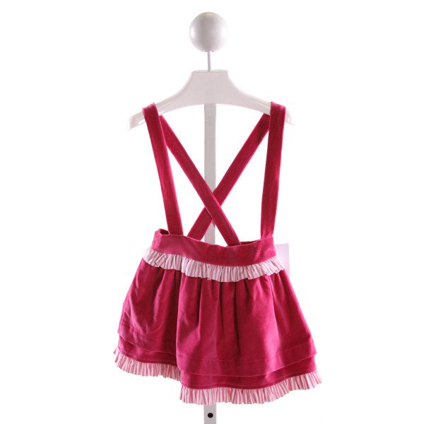 RED BEANS  HOT PINK VELVET   SKIRT WITH RUFFLE