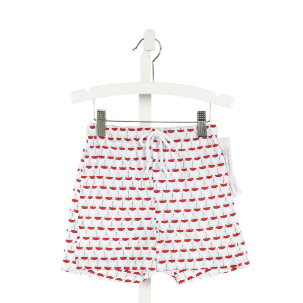 RED BEANS  WHITE   PRINTED DESIGN SWIM TRUNKS