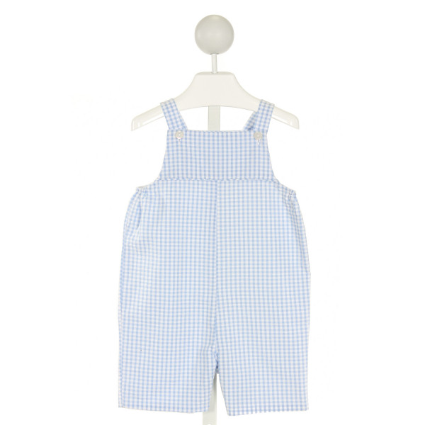 RED BEANS  LT BLUE SEERSUCKER GINGHAM  LONGALL/ROMPER