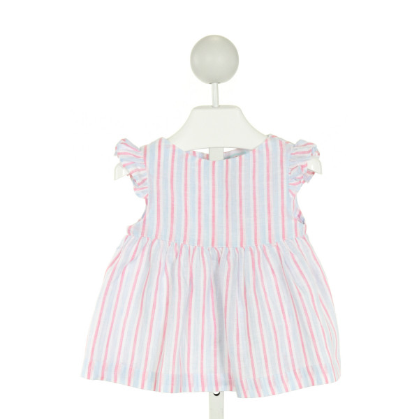 RED BEANS  PINK  STRIPED  CLOTH SS SHIRT WITH RUFFLE