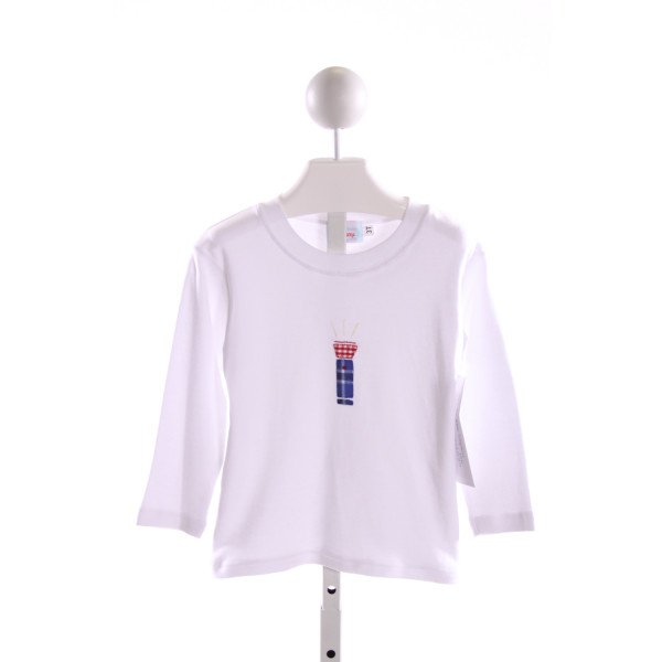 RED BEANS  WHITE   EMBROIDERED KNIT LS SHIRT