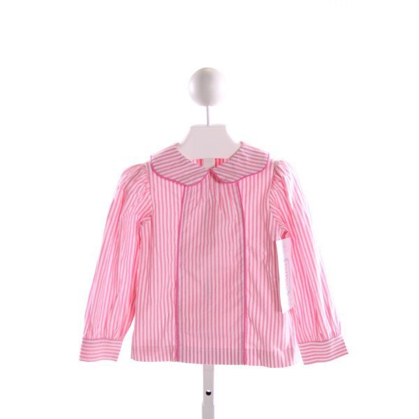 RED BEANS  PINK  STRIPED  CLOTH LS SHIRT