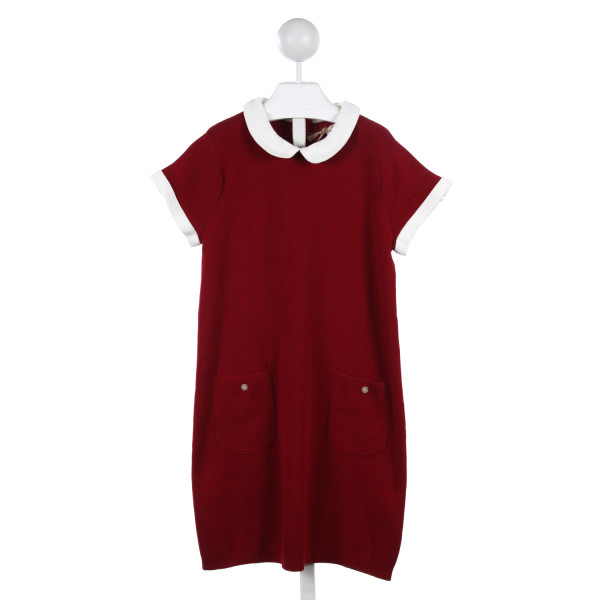OLIVE JUICE RED SWEATER KNIT DRESS WITH WHITE TRIM