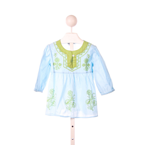 MIMI & MAGGIE AQUA TUNIC WITH LIME GREEN EMBROIDERY