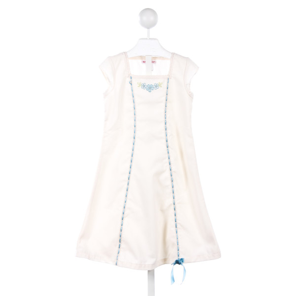 AMERICAN GIRL IVORY DRESS WITH BLUE TRIM