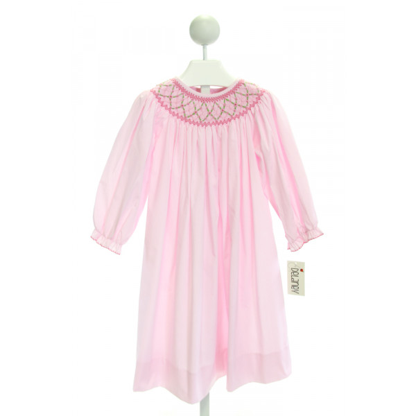 DELANEY  PINK  MICROCHECK SMOCKED DRESS WITH PICOT STITCHING