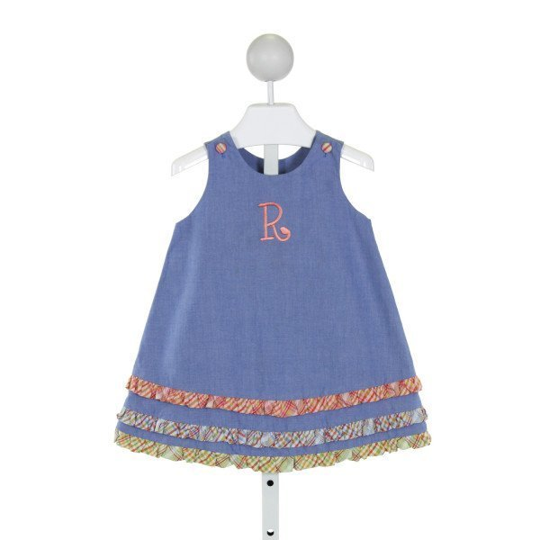 GLORIMONT  BLUE   EMBROIDERED DRESS WITH RUFFLE