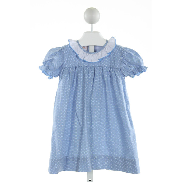 THE SMOCKLING  LT BLUE  POLKA DOT  DRESS WITH PICOT STITCHING