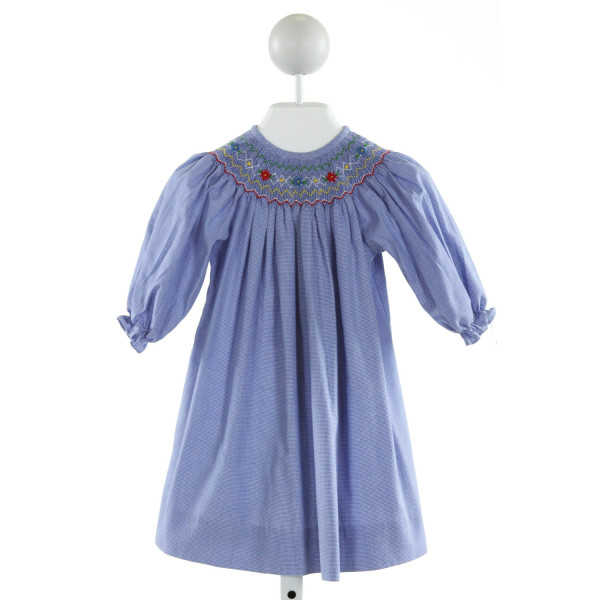 BE MINE  BLUE  MICROCHECK SMOCKED DRESS WITH RUFFLE